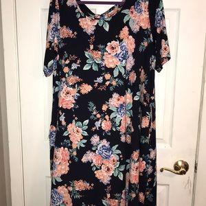 Nina Leonard 2x dress navy floral